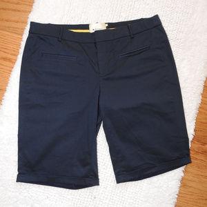 Anthropologie Elevenses Blue Bermuda Shorts Size 8